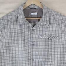 Mens Columbia XL Shirt Outdoor Gray Plaid Button Down Top Long Sleeve Omni Shade
