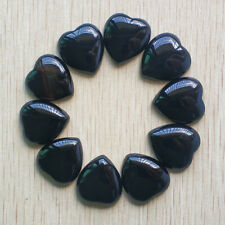 Wholesale 10pcs/lot Natural back onyx heart Cab CABOCHON Stone Beads 25mm