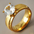Deluxe Womes yellow Gold Filled Clear CZ Promise Love Band Ring Size 6-9