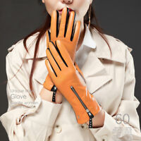 women real Italy top leather zipper full touch screen leather gloves