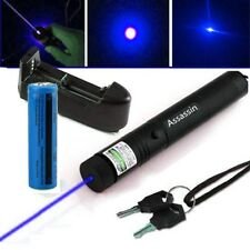 Military Blue Violet Laser Pointer Pen Pet Toy 5mW 405nm Lazer+Battery+Charger