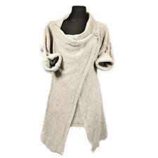 Womens Ladies Cowl Neck Long Sleeve Jumper Top Cardigan Split Wrap Sweater Coat