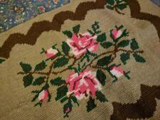 24 by 40 Vintage Needlepoint Rug- Needs Backing- Gorgeous Bright Roses w Brown