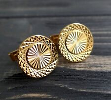Cuff links Geometric Soviet gold plated Shirt cufflinks Father gift Brother gift