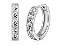 White gold finish created diamond  Hoop huggie Earrings gift idea