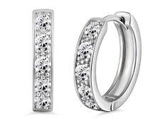 White gold finish created diamond  Hoop huggie Earrings gift idea