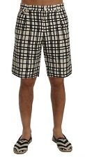 NEW $740 DOLCE & GABBANA Shorts White Black Striped Casual Knee High IT48 / W34