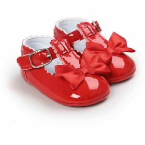 Baby Girl Shoes Butterfly-knot Buckle Strap Comfy Footwear Toddlers Party Shoe