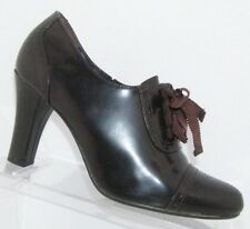 a711acf16e78 Alfani  Bess  brown leather round toe elastic lace up oxford bootie heels 6M