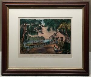 Antique CURRIER & IVES 'Good Times on the Old Plantation' Southern Lithograph