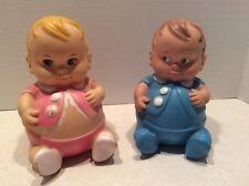 Vintage Uneeda Plum Pies squeeky doll toys Pair