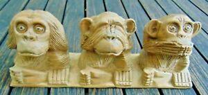3 Wise monkeys wood carving ~ Hear See Speak no evil ~ Cool wooden ornament 30cm