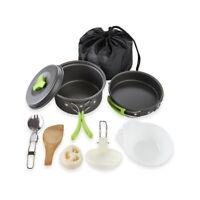 9pcs Portable Camping Cookware Mess Kit Backpacking Outdoors Cook Pot Bowls Set