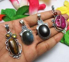 4pcs Pendant Solar Quartz, Labradorite, Black Onyx Gemstones 925 Silver Overlay