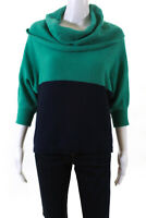 BCBG Max Azria Womens 3/4 Sleeve Cowl Neck Colorblock Sweater Green Size Small