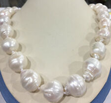 "Rare Huge 15x20MM WHITE SOUTH SEA BAROQUE KESHI AKOYA PEARL NECKLACE 18"" AAA+"