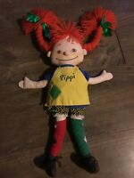 """Pippi Longstocking Doll Plush 17"""" Red Hair Faux Leather Boots Piggy Tails EUC"""