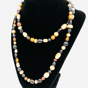 """Honora Black Pearl Necklace Bronze Gold Pearls Sterling Silver 36"""" Long"""