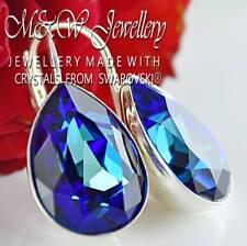 925 Sterling Silver Earrings Bermuda Blue Fancy Pear 14mm Made With Swarovski®