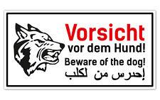 Warnschild Vorsicht Hund Schäferhund - 3-sprachig für Zaun ,Tür gegen Einbrecher