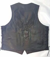 Dark Brown Leather Motorcycle Vest, Embossed USA Eagle, Side Lace 44