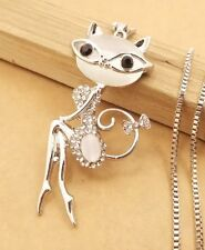 Betsey Johnson Necklace Cat Silver Sexy Smart Pussy Cat With Glasses Crystals