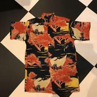 SUN SURF Hawaiian Aloha Shirt Botanical Design Rayon Size-L Used from Japan F/S