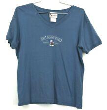 Walt Disney World T-Shirts Women's V Neck Casual Blue Cotton Everyday Size Large