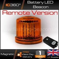 Battery Powered LED Magnetic Beacon & Remote - Hazard - Amber Recovery Flashing