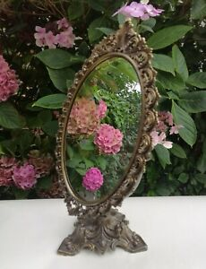Vintage Brass Rococo/Baroque Style Tilting Dressing Table Top Vanity Mirror
