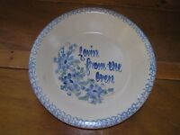 Vintage Light Blue & Cream Floral LOVIN FROM THE OVEN Spatterware Edged Pottery
