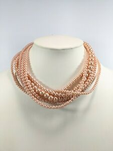 Silver Tone Pink Peach Glass Faux Pearl Multi Strand Twist Choker Necklace