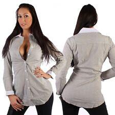 Gestreifte Lockre Sitzende Damenblusen,-Tops & -Shirts mit Klassischer Kragen und Baumwolle