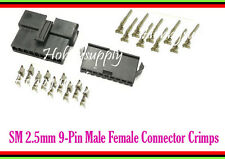 5SET JST-SM 2.5 Pitch 9-Pin Male Female Housing Connector Crimp Contact Terminal