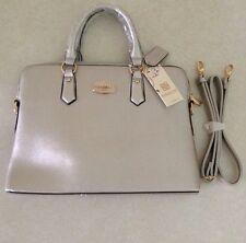 Dasein Slim Briefcase Satchel Shoulder Bag Handbag, Silver, NEW