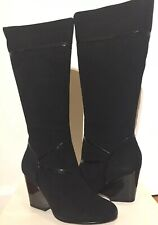 Aldo $150 Black Suede Knee High Wedge Sexy Boots Size 7