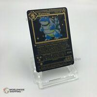 Carte Pokemon Gold Tortank / Blastoise Metal Black Card Fan Made / EX GX