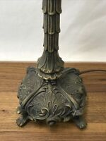 """Antique Vtg Table Lamp Art Nouveau FOR Tulip Tiffany Stained Glass Shade 21""""Deco"""