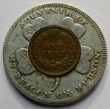 Lucky Penny Pocket Piece Souvenir of Mt. Beacon on Hudson with 1905 Indian Cent