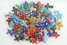 Wholesale Lot 1000pcs Flower Millefiori Glass Cross Silver Plated Bead Pendant