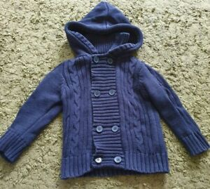Jojo Maman Bebe navy hooded cardigan age 2-3 years