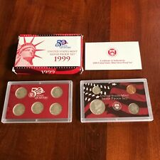 1999 Us Mint Silver Proof Set in box with Coa. 9 coins