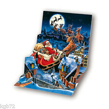 3D Santa's Sleigh Ride PopUp Card Christmas Up With Paper Treasures #CPs-180