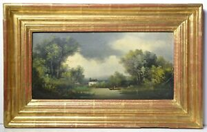 Countryside Scene w Lake Figure Rowing Boat Distant Castle Antique Oil ca 1900