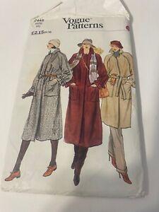 Vintage Sewing Pattern Vogue Coat With Belt Size 18 UNCUT
