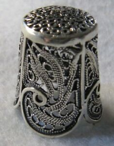 SCALLOPED EDGED STERLING SILVER THIMBLE - MADE IN ISRAEL (#1) - NEW