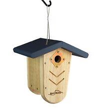 Kettle Moraine Navy Roof Nest Box Wren & Chickadee Hanging Bird House #9105Nvy