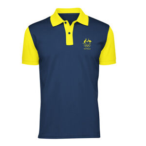 AOC Australian Olympic Adults Supporter Polo Shirt/Top Sport Navy/Gold