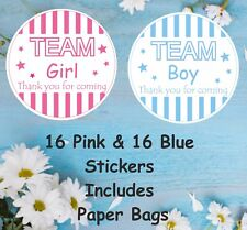 32 Baby Shower, Gender Reveal  Stickers  16 x Pink & 16 Blue Sticker With Bags