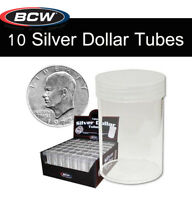 10 BCW Clear Round Tubes for Large Dollar Silver Coin Storage w/ Screw On Caps
